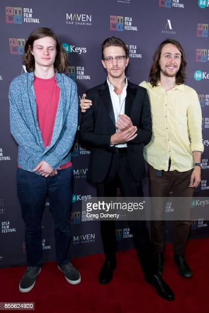 Actor Charlie Tahan Director Kevin Philliips and Actor Owen Campbell arrive for the DTLA Film Festival Premiere Of The Orchard's Super Dark Times at...