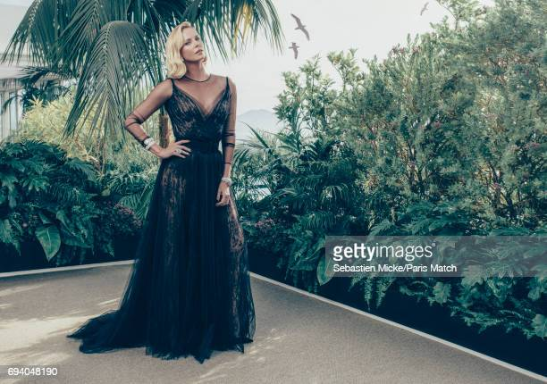 Actor Charlize Theron wearing Dior haute couture and Chopard is photographed for Paris Match on May 23 2017 in Cannes France