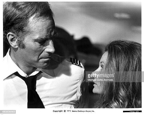 Actor Charlton Heston and actress Yvette Mimieux in a scene from the movie Skyjacked circa 1972