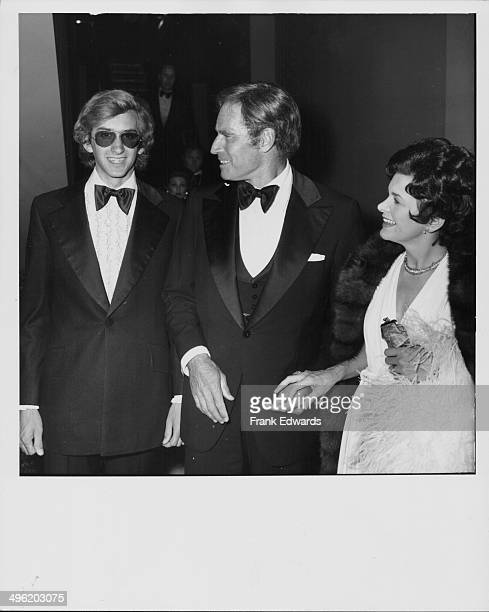 Actor Charlton Heston and his wife Lydia and son Fraser attending the tribute to actor James Cagney at the Century Plaza Hotel California March 13th...