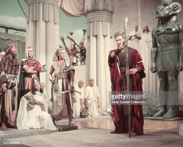 Actor Charlton Heston as Moses faces Yul Brynner as Pharaoh Rameses II in a scene from the biblical epic 'The Ten Commandments' 1956