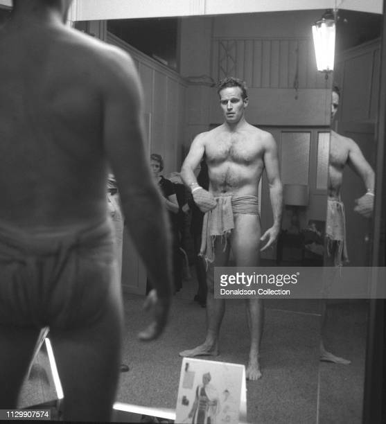 "Actor Charlton Heston costume fitting for the movie ""Ben Hur"" in 1959."