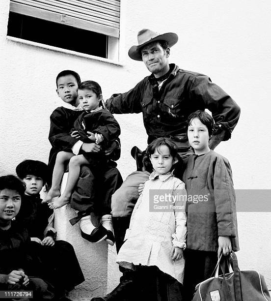 US actor Charlton Heston on location in Madrid for the movie '55 days of Peking ' Madrid Spain