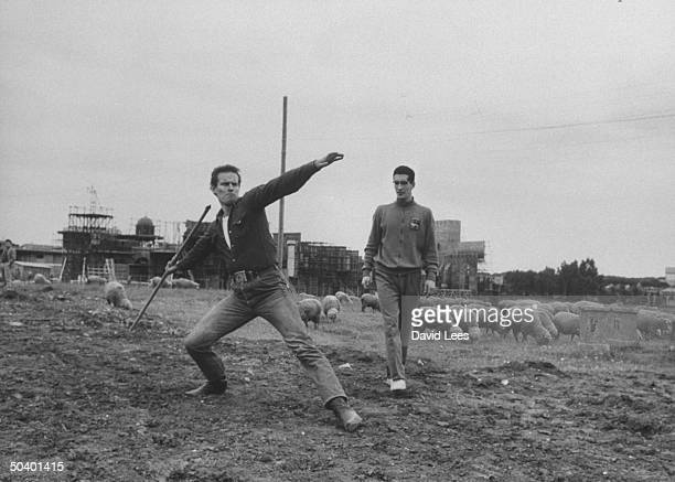 Actor Charlton Heston training for his role in 'Ben Hur'