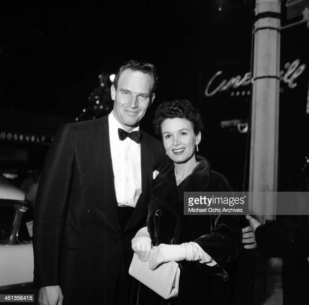 Actor Charlton Heston with wife Lydia at the premier of A Farewell to Arms in Los Angeles California