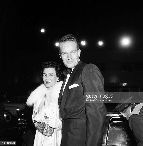 Actor Charlton Heston with wife Lydia attend a party in Los Angeles California