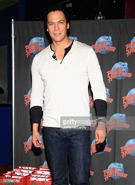 Actor Chaske Spencer visits Planet Hollywood Times Square to collect toys for the Toys for Tots program on December 14 2010 in New York City