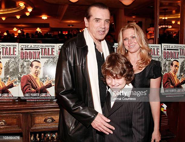Actor Chazz Palmentari with wife Gianna Palmentari and son Dante Lorenzo Palmentari at the afterparty for the opening night Broadway Production of A...