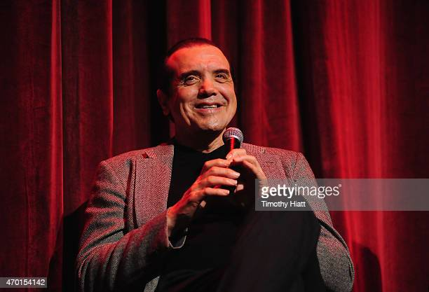 Actor Chazz Palminteri speaks onstage at the 'A BRONX TALE' Screening at Virginia Theatre during EBERTFEST 2015 on April 17 2015 in Champaign Illinois