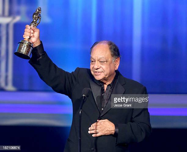 Actor Cheech Marin accepts outstanding career achievment award for writing onstage at the 2012 NCLR ALMA Awards PreShow at Pasadena Civic Auditorium...