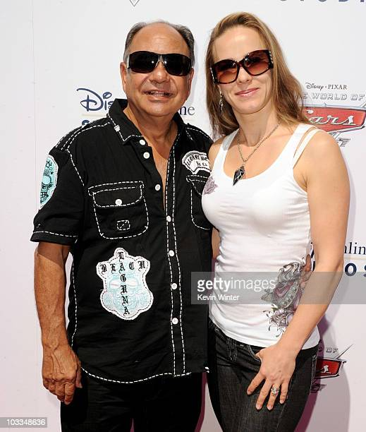 Actor Cheech Marin and his wife musician Natasha Marin arrive at Disney/Pixar's World of Cars Online launch party at Bob's Big Boy on August 11 2010...