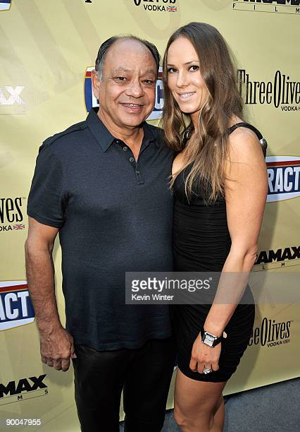 Actor Cheech Marin and his wife Natasha Marin arrive at the premiere of Miramax Films' Extract held at ArcLight Hollywood on August 24 2009 in Los...