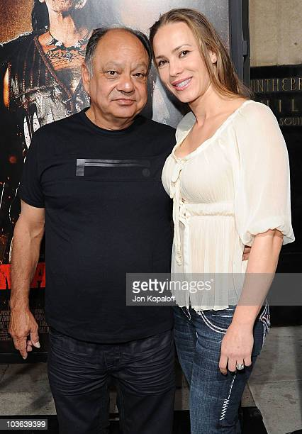 Actor Cheech Marin and wife Natasha Marin arrive at the Los Angeles Screening of Machete on August 25 2010 in Los Angeles California