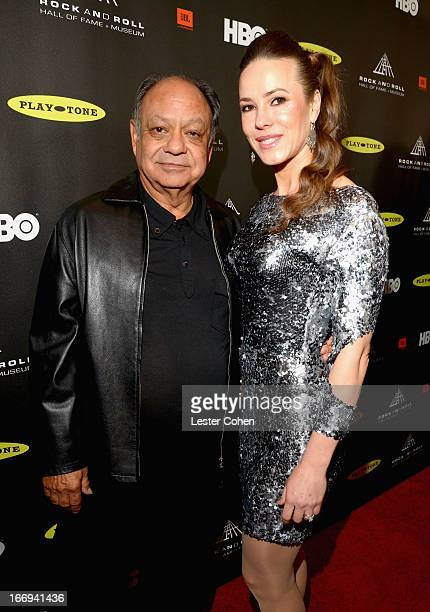 Actor Cheech Marin and wife Natasha Rubin attend the 28th Annual Rock and Roll Hall of Fame Induction Ceremony at Nokia Theatre LA Live on April 18...