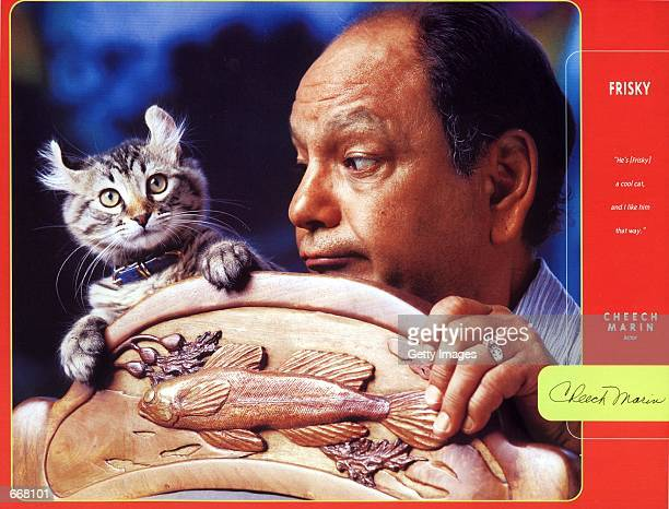Actor Cheech Marin with his cat Frisky were one of the many celebrities to pose for the Purina 2001 Cat Chow Celebrity Cat Calendar sponsored by Tony...