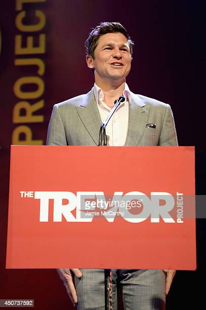 Actor chef David Burtka speaks onstage at the Trevor Project's 2014 'TrevorLIVE NY' Event at the Marriott Marquis Hotel on June 16 2014 in New York...