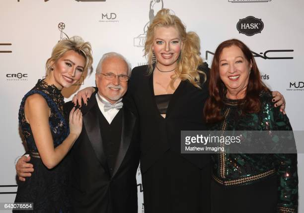 Actor Chelsea Kane Local 706 business rep Tommy Cole actor Melissa Peterman and Local 706 president Sue CabralEbert backstage at the 2017 MakeUp...