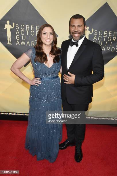 Actor Chelsea Peretti and director Jordan Peele attend the 24th Annual Screen Actors Guild Awards at The Shrine Auditorium on January 21, 2018 in Los...