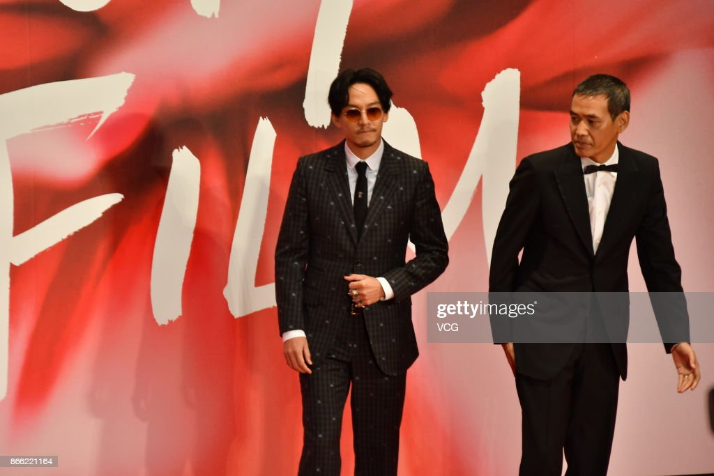 Actor Chen Chang (L) and director Hiroyuki Tanaka arrive at the red carpet of the 30th Tokyo International Film Festival at Roppongi Hills on October 25, 2017 in Tokyo, Japan.