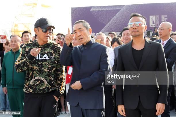 Actor Chen Daoming director Zhang Yimou and actor Zhang Hanyu attend the unveiling ceremony of Golden Rooster sculpture during the 28th China Golden...