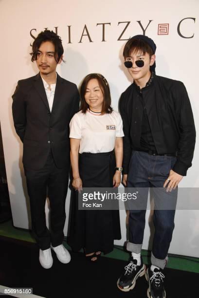 Actor Chen Xiao designer Wang Chen TsaiHsia and Wang Jia attend the Schiatzy Chen show as part of the Paris Fashion Week Womenswear Spring/Summer...