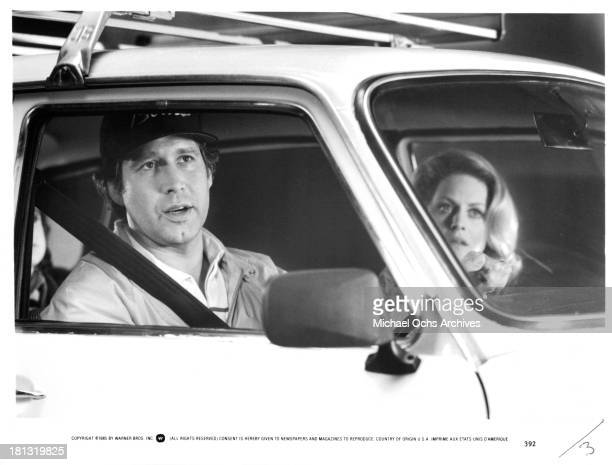 Actor Chevy Chase and actress Beverly D'Angelo on set of the Warner Bros movie National Lampoon's European Vacation in 1985