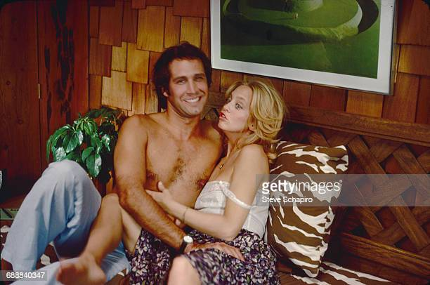 Actor Chevy Chase and actress Goldie Hawn in a scene from the film 'Foul Play' California 1978