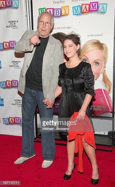 Actor Chevy Chase and daughter Caley Chase attend the world premiere Of Baby Mama during the opening night Of Tribeca Film Festival at the Ziegfeld...