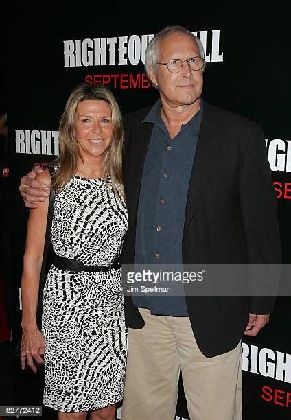 Actor Chevy Chase and his wife Jayni attends the New York premiere of 'Righteous Kill' at the Ziegfeld Theater on September 10 2008 in New York City