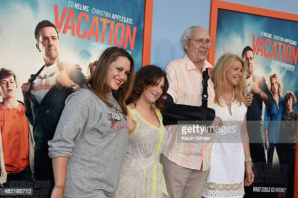 Actor Chevy Chase and writer Jayni Chase with family attend the premiere of Warner Bros Pictures 'Vacation' at Regency Village Theatre on July 27...