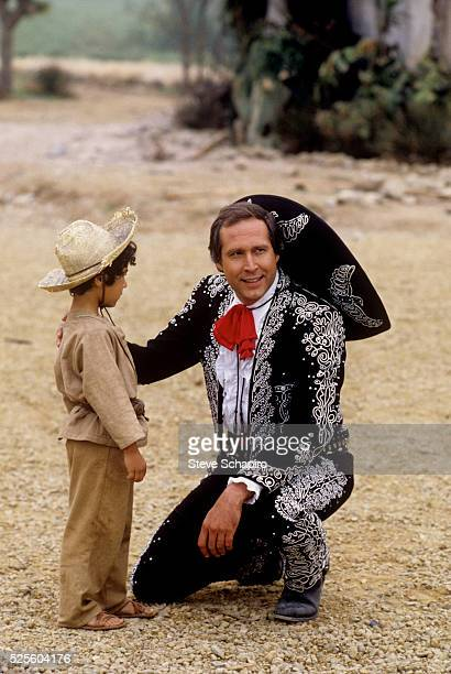 Actor Chevy Chase in costume for the film Three Amigos