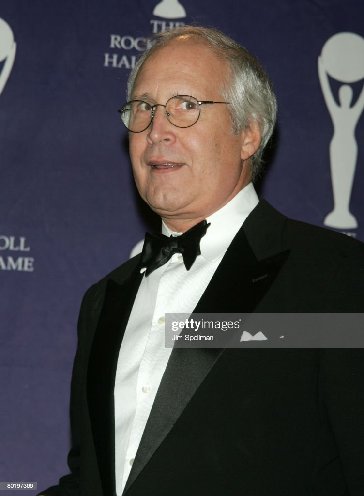 Actor Chevy Chase poses in the press room during the 23rd Annual Rock and Roll Hall of Fame Induction Ceremony at the Waldorf Astoria on March 10, 2008 in New York City.