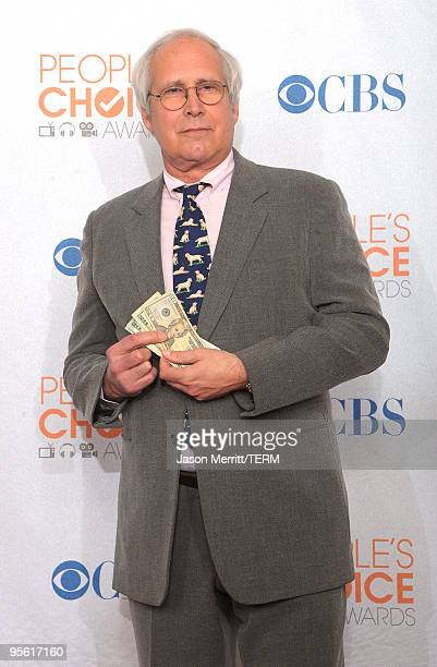 Actor Chevy Chase poses in the press room during the People's Choice Awards 2010 held at Nokia Theatre LA Live on January 6 2010 in Los Angeles...
