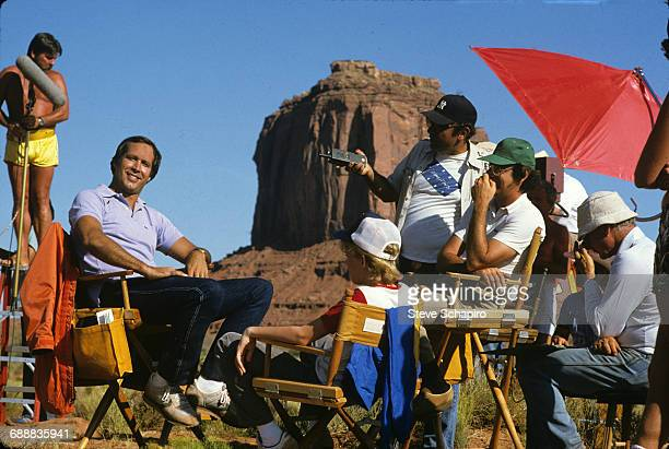 Actor Chevy Chase second from left is pictured on the set of the movie 'Vacation' 1983