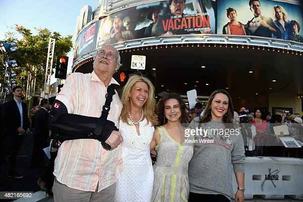 Actor Chevy Chase wife Jayni Chase daughters Caley Chase and Emily Chase attend the premiere of Warner Bros Pictures Vacation at Regency Village...