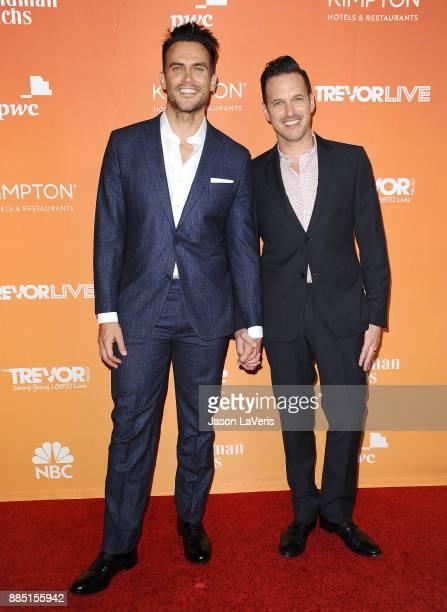 Actor Cheyenne Jackson and husband Jason Landau attend The Trevor Project's 2017 TrevorLIVE LA at The Beverly Hilton Hotel on December 3 2017 in...