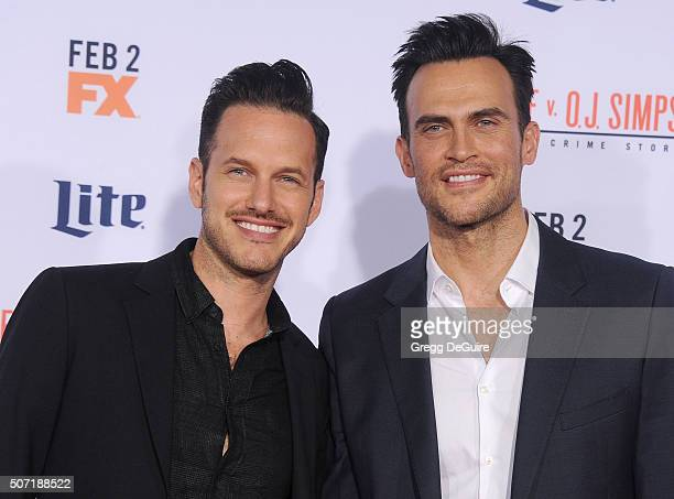 Actor Cheyenne Jackson and Jason Landau arrive at the premiere of 'FX's 'American Crime Story The People V OJ Simpson' at Westwood Village Theatre on...