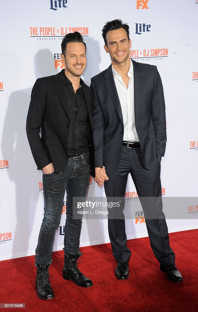 Actor Cheyenne Jackson (right) and Jason Landau arrive for Premiere Of 'FX's 'American Crime Story - The People V. O.J. Simpson' held at Westwood Village Theatre on January 27, 2016 in Westwood, California.