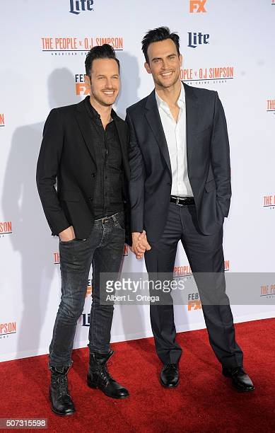 """Actor Cheyenne Jackson and Jason Landau arrive for Premiere Of """"FX's """"American Crime Story - The People V. O.J. Simpson"""" held at Westwood Village..."""