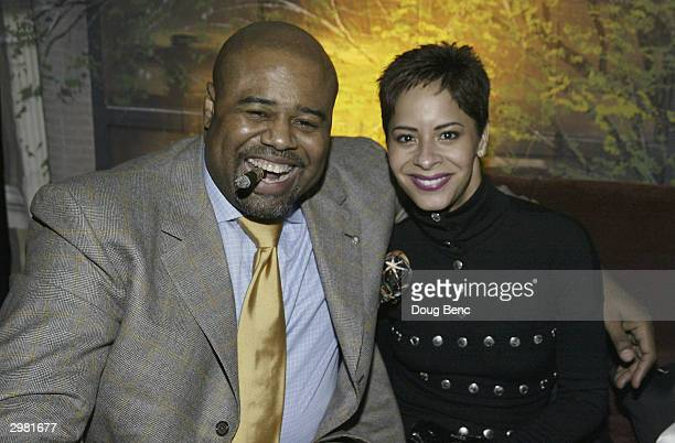 Actor Chi McBride and date Julissa Marquez during a party following Comedy Court comedy show presented by Michael Jordan on February 14 2004 at the...