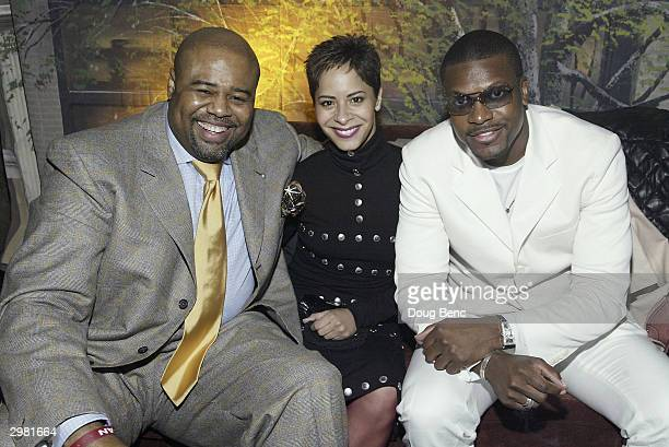 Actor Chi McBride his date Julissa Marquez and actor/comedian Chris Tucker during a party following Comedy Court comedy show presented by Michael...