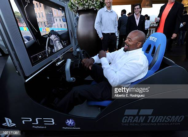 Actor Chi McBride plays Gran Turismo 5 as MercedesBenz celebrates PlayStation 3 Gran Turismo 5 featuring the SLS AMG at SLS Hotel on June 15 2010 in...