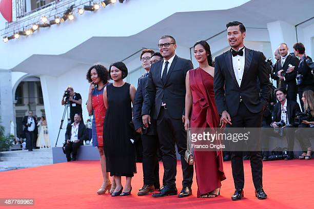 Actor Chicco Jerikho director Joko Anwar and actresses Tara Basro and Maera Panigoro attend a premiere for 'Per Amor Vostro' during the 72nd Venice...