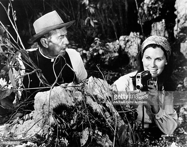 Actor Chips Rafferty and actress Susan Clark in a scene from the movie Skullduggery circa 1970