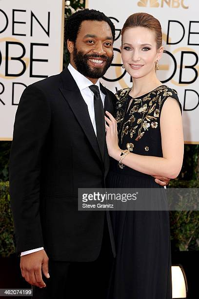 Actor Chiwetel Ejiofor and guest attend the 71st Annual Golden Globe Awards held at The Beverly Hilton Hotel on January 12 2014 in Beverly Hills...