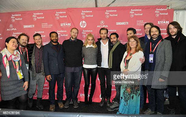 Actor Chiwetel Ejiofor director Craig Zobel actress Margot Robbie and actor Chris Pine of the film 'Z for Zachariah' with Bill Johnson Jim Seibel DJ...