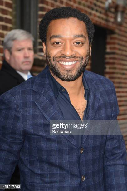 Actor Chiwetel Ejiofor enters the 'Late Show With David Letterman' taping at the Ed Sullivan Theater on November 21 2013 in New York City