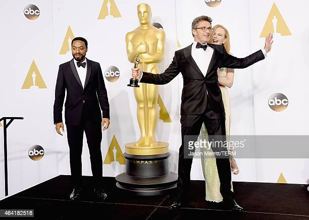 Actor Chiwetel Ejiofor, Filmmaker Pawel Pawlikowski winner of the Best Foreign Language Film Award for 'Ida', and actress Nicole Kidman pose in the...