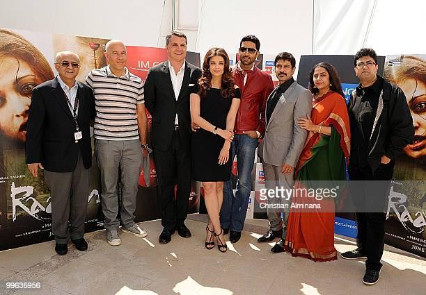 Actor 'Chiyaan' Vikram Actress Aishwarya Rai Bachchan Abhishek Bachchan and movie production staff attend the 'Raavan' Photocall at the Salon Diane...