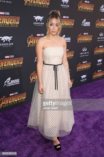 Actor Chloe Bennet attends the Los Angeles Global Premiere for Marvel Studios' Avengers Infinity War on April 23 2018 in Hollywood California